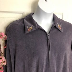 Like Nee! Alfred Dunner Purple Embroidered Jacket